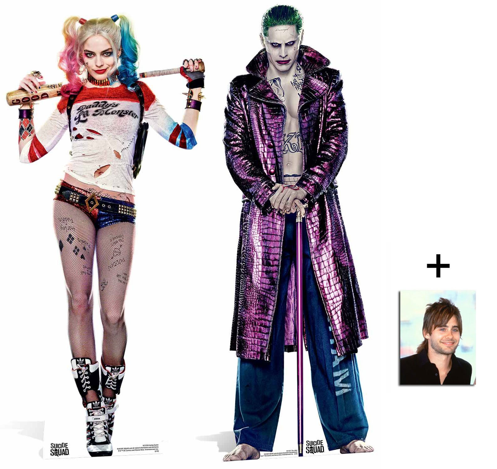 Fan Pack - Suicide Squad Harley Quinn and The Joker Movie Twin Pack Lifesize Cardboard Cutout / Standee / Stand Up - Includes 8x10 Star Photo by BundleZ-4-FanZ Fan Packs