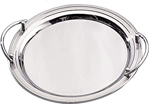 Elegance Stainless Steel Round Serving Tray, 14 inch, Silver