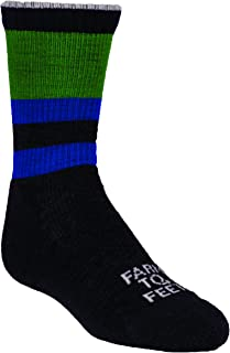 product image for Farm to Feet Everyday Stripe Crew Socks, Charcoal/Surf The Web, Medium