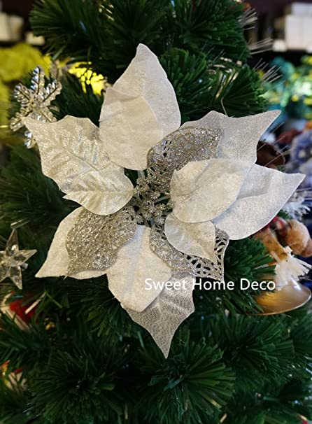 sweet home deco 10 silk poinsettias artificial flower heads christmas holiday decorations 5 - White Christmas Flower Decorations