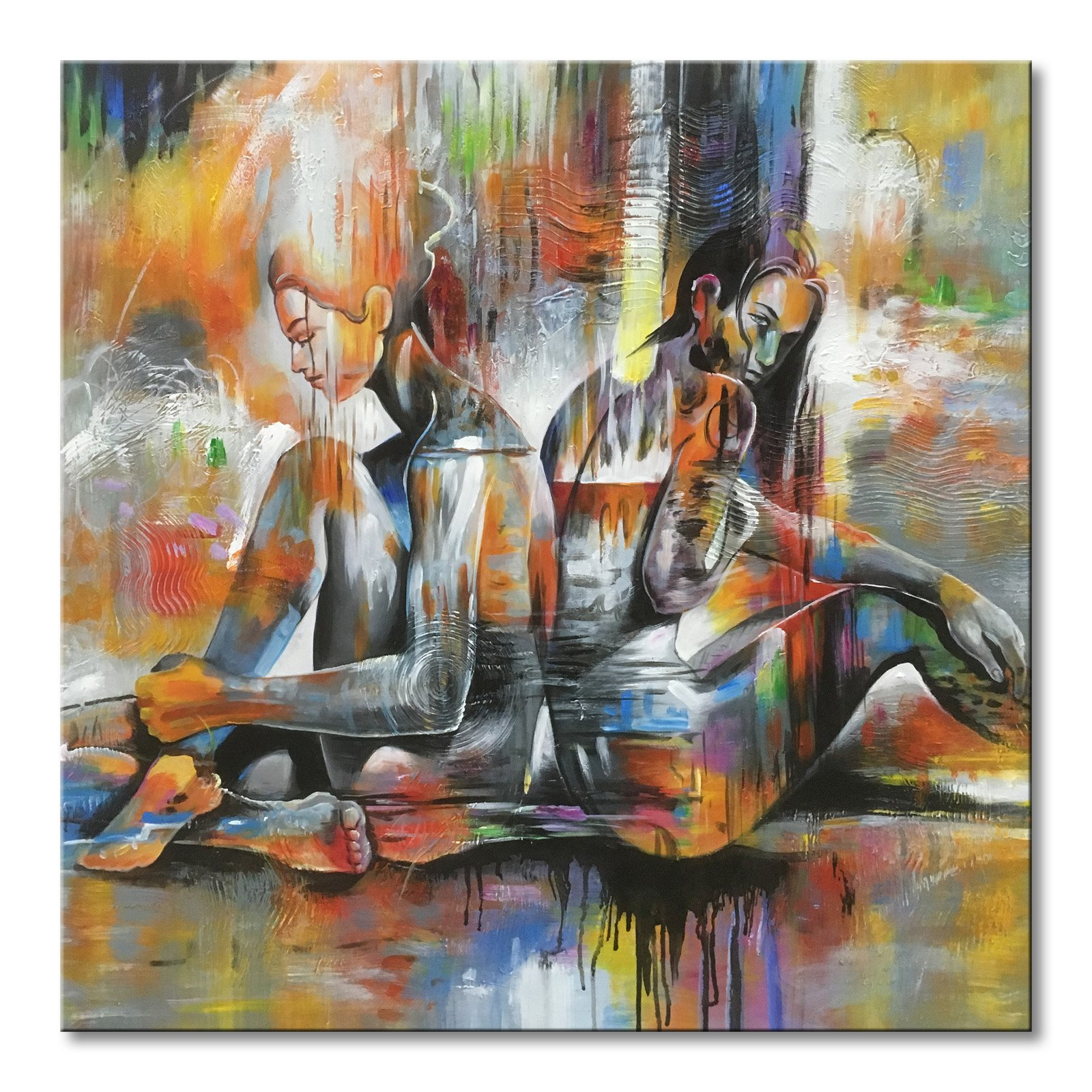 Everfun Abstract Canvas Wall Art Nude Girl Oil Painting Hand Painted Modern Naked Lady Back to Back Figurative Artwork Framed Colorful Picture Decoration 36''Wx36''H