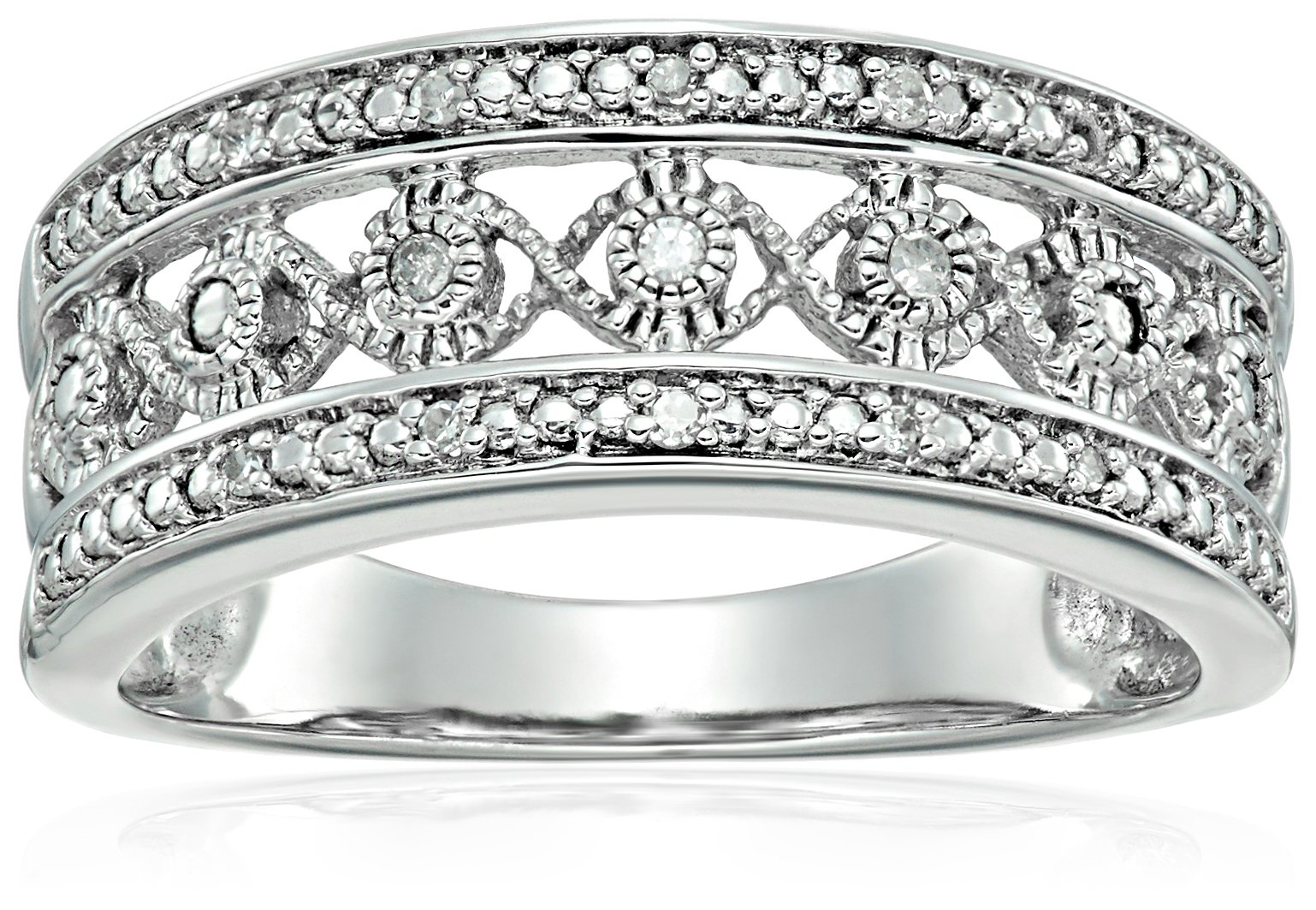 Sterling Silver Diamond Accent Anniversary Ring, Size 7