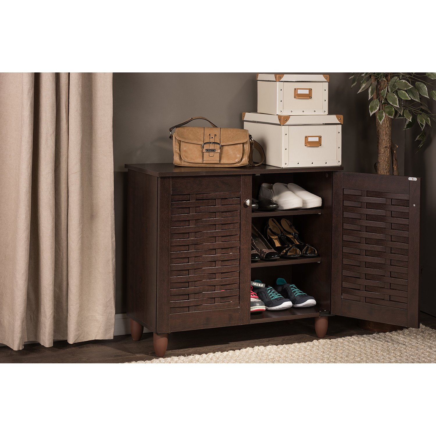 Amazon.com: Wholesale Interiors Baxton Studio Winda Modern And Contemporary  2 Door Dark Brown Wooden Entryway Shoes Storage Cabinet: Kitchen U0026 Dining
