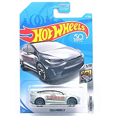Hot Wheels 2020 50th Anniversary HW Metro Tesla Model X 247/365, Silver: Toys & Games