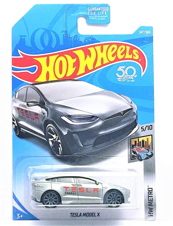 Hot Wheels 2018 50th Anniversary HW Metro Tesla Model X 247/365, Silver Mattel