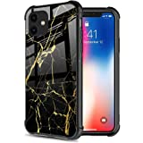 LANJINDENG iPhone 11 Marble Case, Black Gold Marble iPhone 11 Case Luxury Tempered Glass Anti-Scratch Cover Shockproof TPU Bu