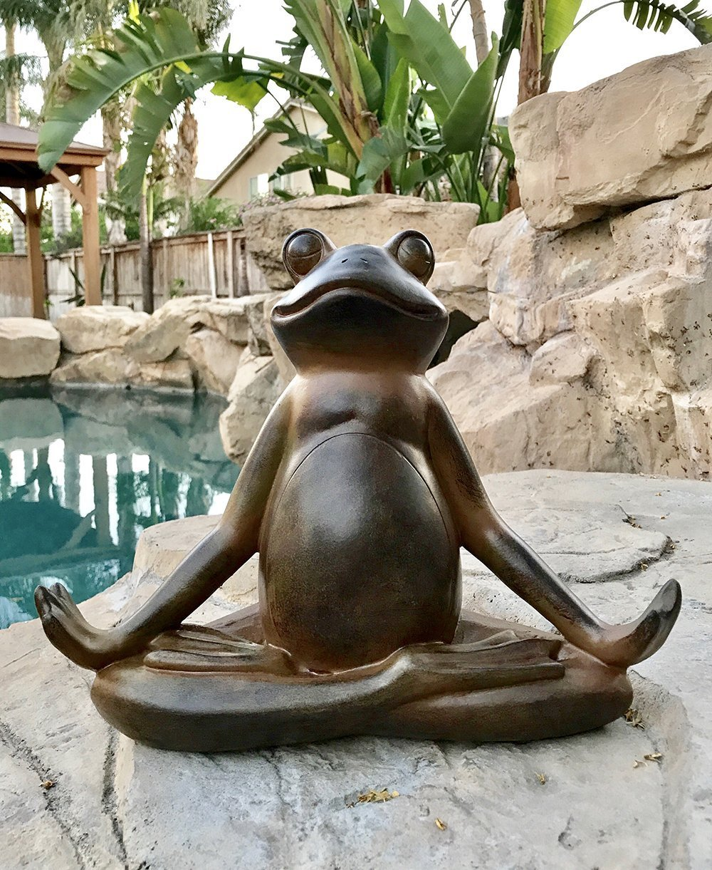 Pacific Giftware The Inner Peace of A Frog Yoga Toad in Meditation Figurine Collectible Sculpture Garden Decor 11 inch Tall