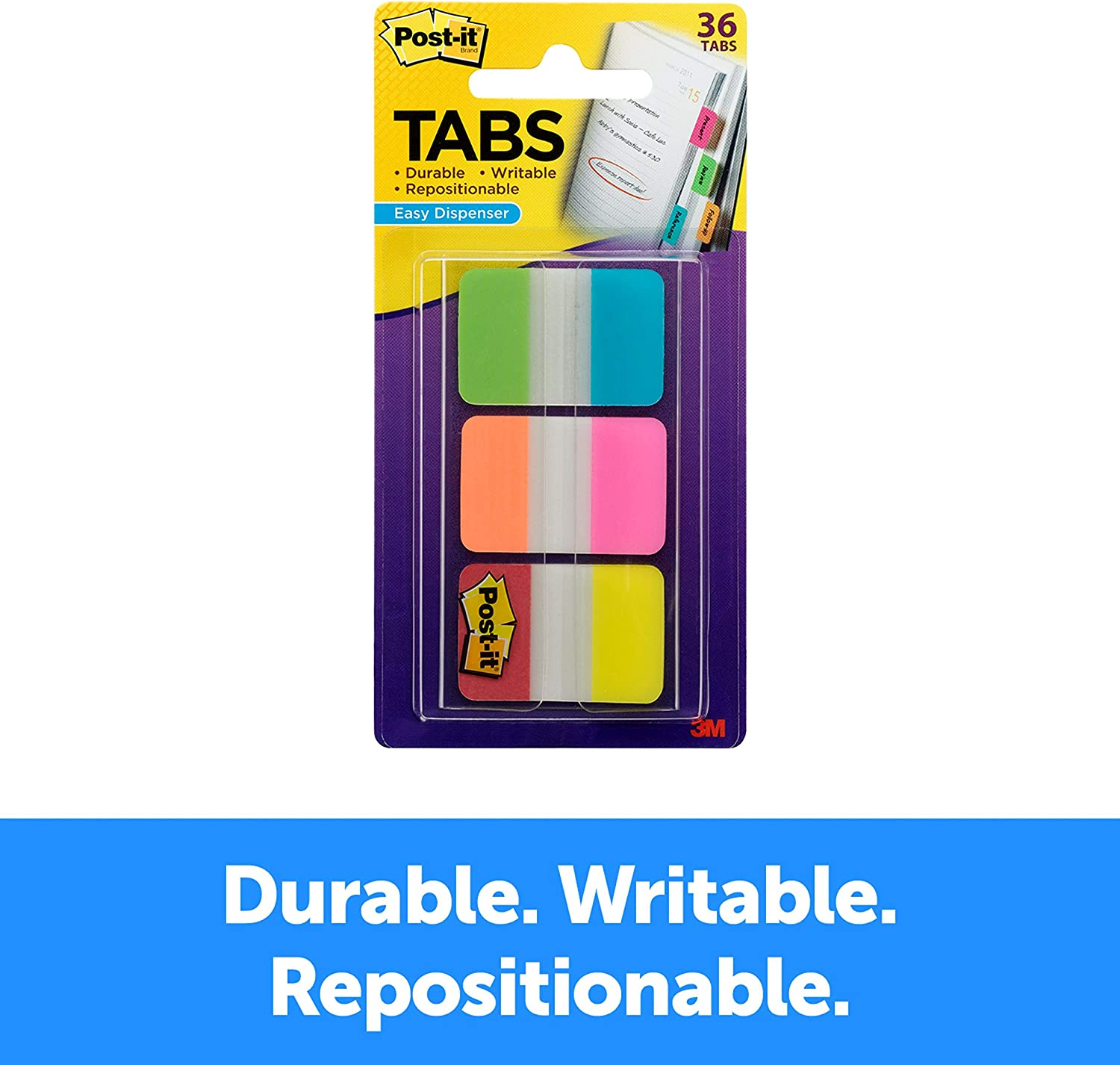 Amazon.com : Post-it Tabs, 1 in. Solid, Aqua, Yellow, Pink, Red, Green,  Orange, Durable, Writable, Repositionable, Sticks Securely, Removes  Cleanly, 6/Color, 36/Dispenser, (686-ALOPRYT) : Office Products