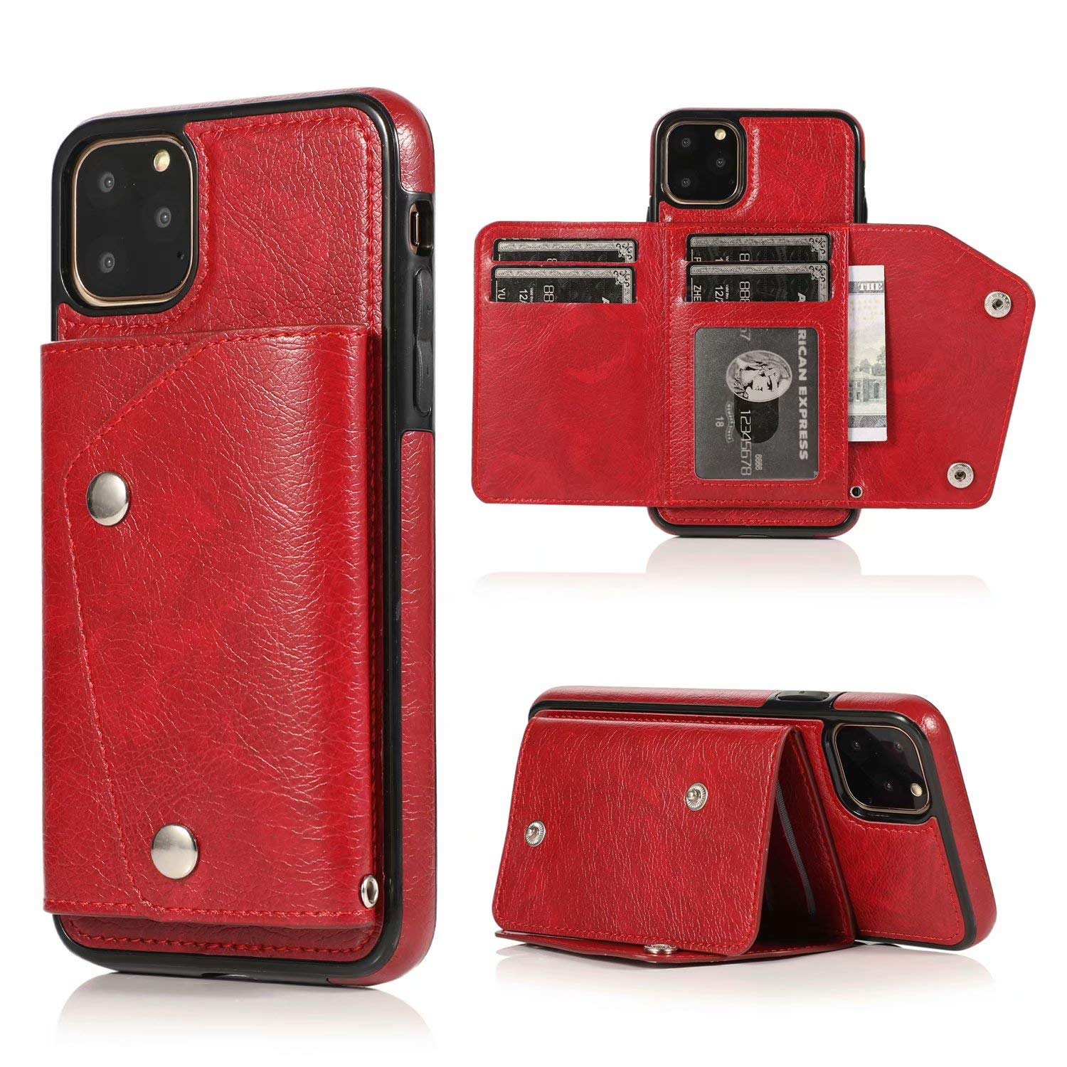 iPhone 11 Pro Wallet Case, Ranyi Leather Wallet Case with Credit Card Holder Slots Wrist Strap Premium PU Leather Flip Folio Wallet Purse Protective Case for 2019 5.8 Inch iPhone 11 Pro (red) by Ranyi