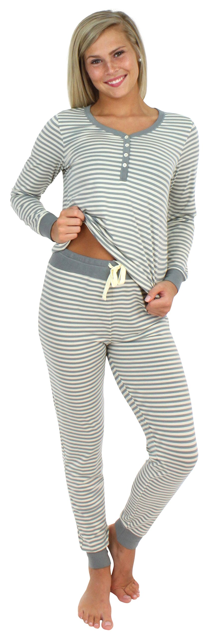 Sleepyheads Women's Sleepwear Knit Long Sleeve Henley and Pant Pajamas PJ Set-Stripes (SH1150-4043-SML)