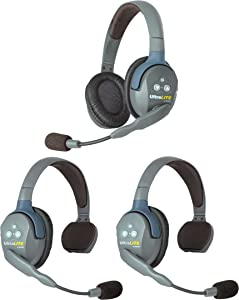 Eartec UL321 UltraLITE Full Duplex Wireless Headset Communication for 3 Users - 2 Single Ear and 1 Dual Ear Headsets