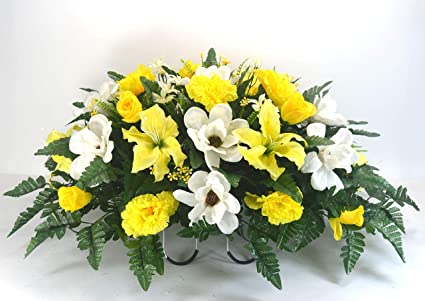 Amazoncom R16 Magnolia And Yellow Tiger Lilies Rose Buds Cemetery
