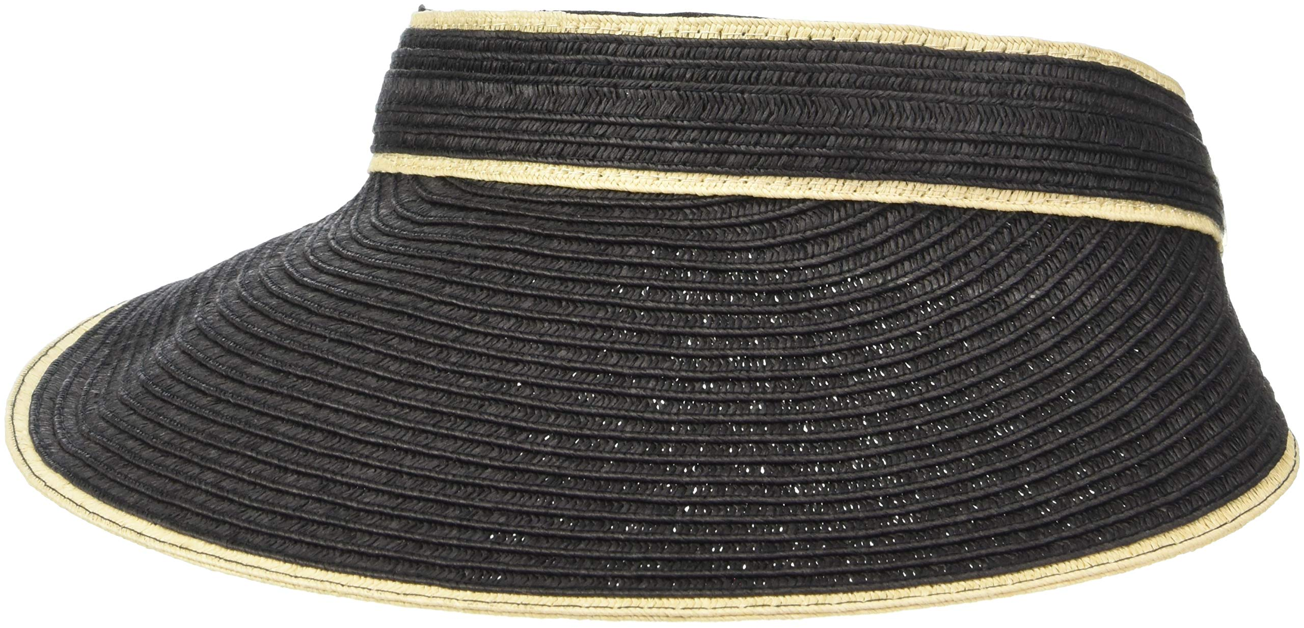 Calvin Klein Women's Straw Visor with Elastic Band, Black, One Size