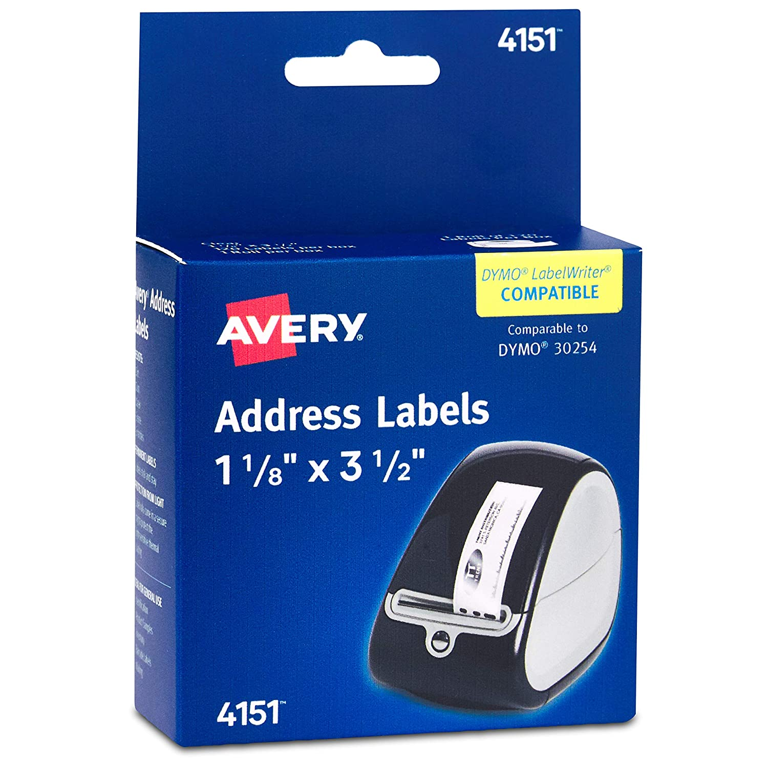 B00004Z5RT Avery Labels for Dymo Label Printers, Same Size as Dymo 30252, Glossy Clear, 1-1/8'' x 3-1/2'', Roll of 120 Labels (4151) 81L4m0nqIcL