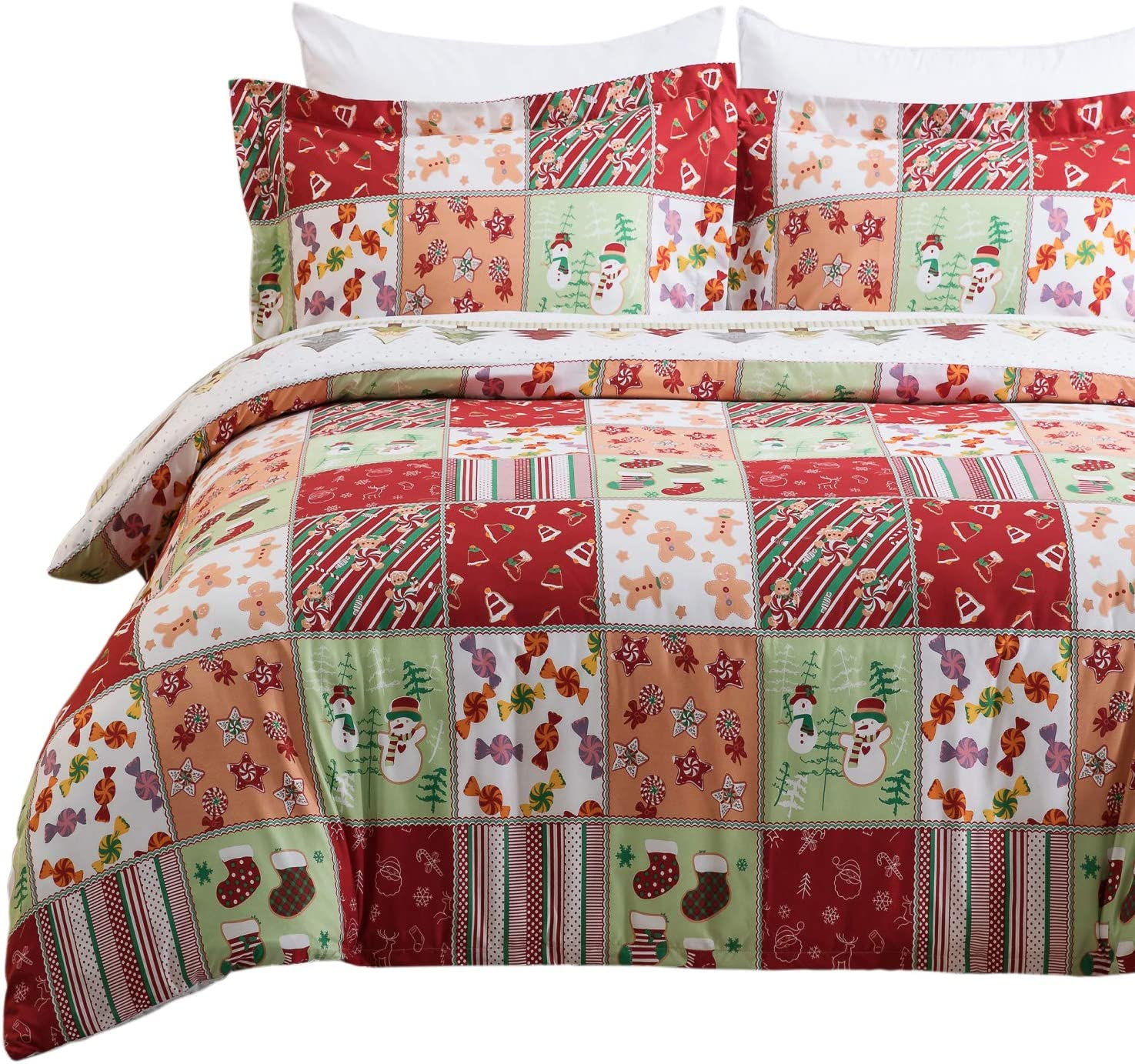 Bedsure Christmas Duvet Cover Set, King (104×90 inches) - Reversible Festival Pattern - Soft Microfiber Comforter Cover, 3 Pieces Bedding with 1 Duvet Cover (No Comforter Insert), 2 Pillow Shams