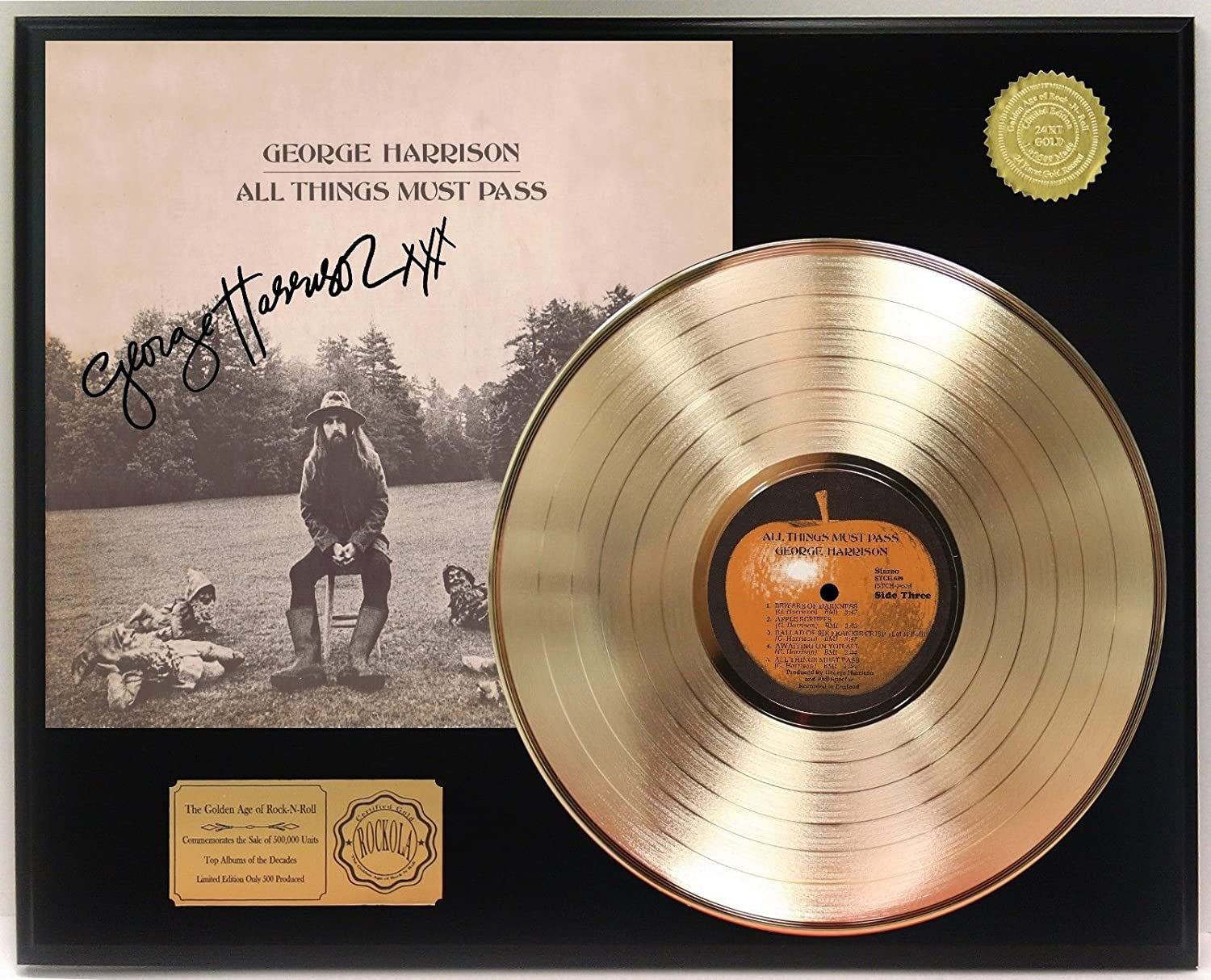 George Harrison All Things Must Pass Gold Lp Signature Display C3