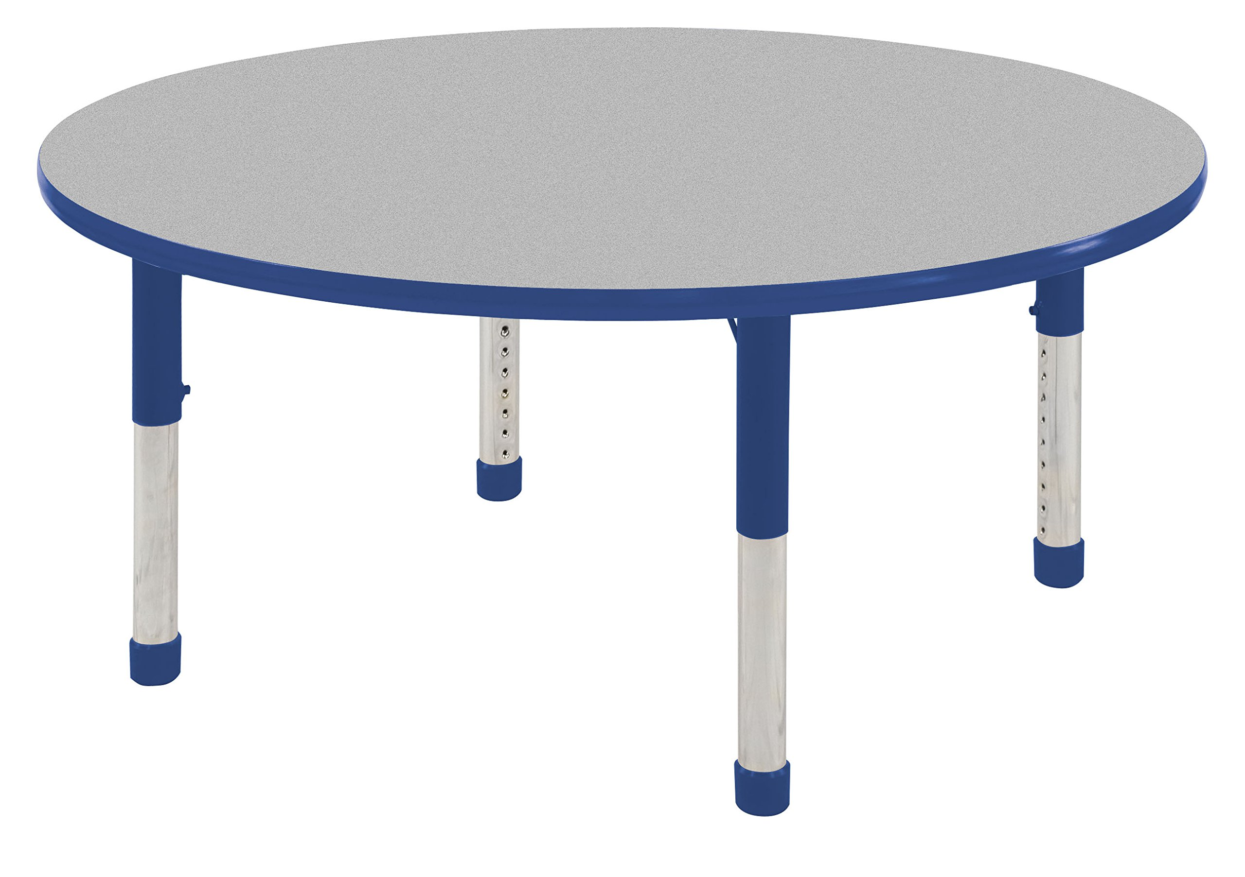 ECR4Kids 48'' Round Activity Table, Gray Top/Blue Edge, Chunky Legs, Eight 10'' Blue School Stack Chairs w/ Ball Glides