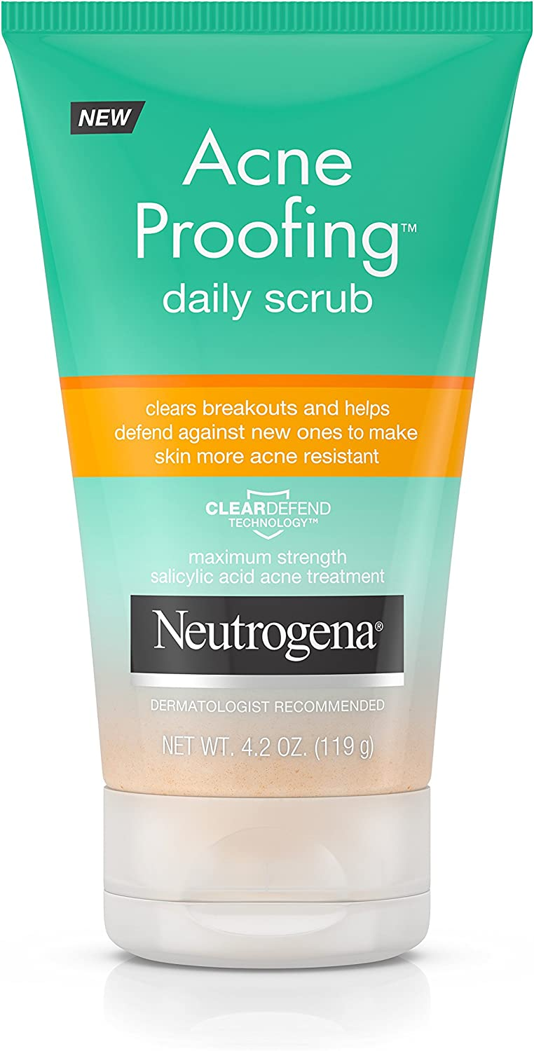 Best Face Scrubs For Acne - Neutrogena Acne Proofing Daily Facial Scrub with Salicylic Acid Acne Treatment, Exfoliating and Cleansing Face Wash