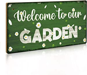 Putuo Decor Welcome to Our Garden Sign, 12 x 6 Inch Hanging Plaque, Gardener Gift for Women
