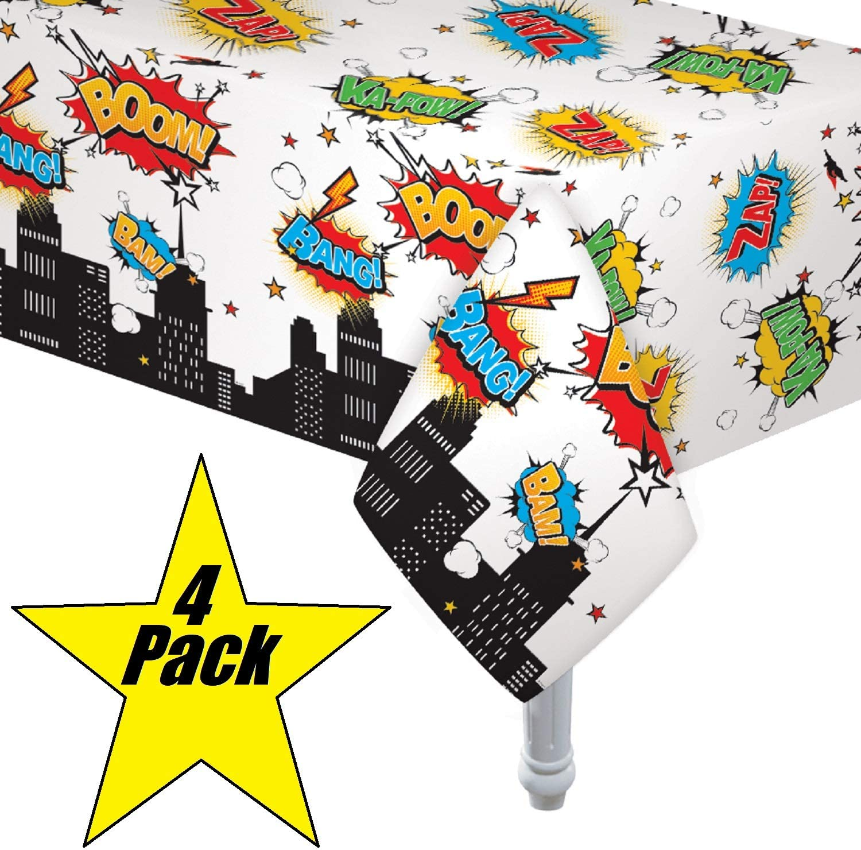 "4 Pack Superhero Plastic Table cover 54"" x 108"""