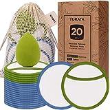 Wasbaar herbruikbaar Wattenschijfje, TURATA 20 Natuurlijke Biologische Katoen Bamboe Make-up Pads Verwijderen Katoenen Doekje voor Gezichtsreiniging en Huidverzorging met Waszak en Make-up Spons