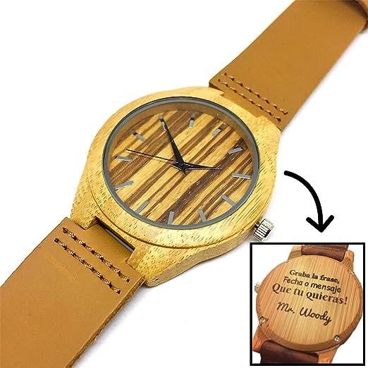 Reloj de Madera Bambú Hombre - Grabado Personalizado Láser - Mr. Woody - Modelo Genève Numbers: Amazon.es: Relojes