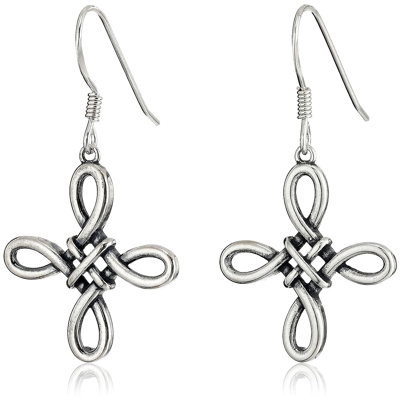 Amazon.com: Sterling Silver Oxidized Celtic Knot Cross Drop Earrings ...
