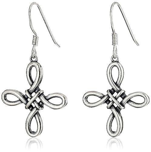 Sterling Silver Celtic Cross Drop Earrings