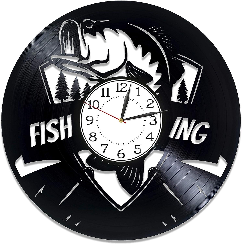 Kovides Activity Handmade Products Fishing Vinyl Clock 12 Inch for Boyfriend Fishing Birthday Gift Idea for Him Hobby Original Home Decor Fishing Vinyl Record Wall Clock