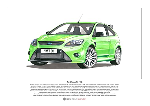 George Morgan Illustration Art Cartel de un Ford Focus RS Mk2, tamaño A3
