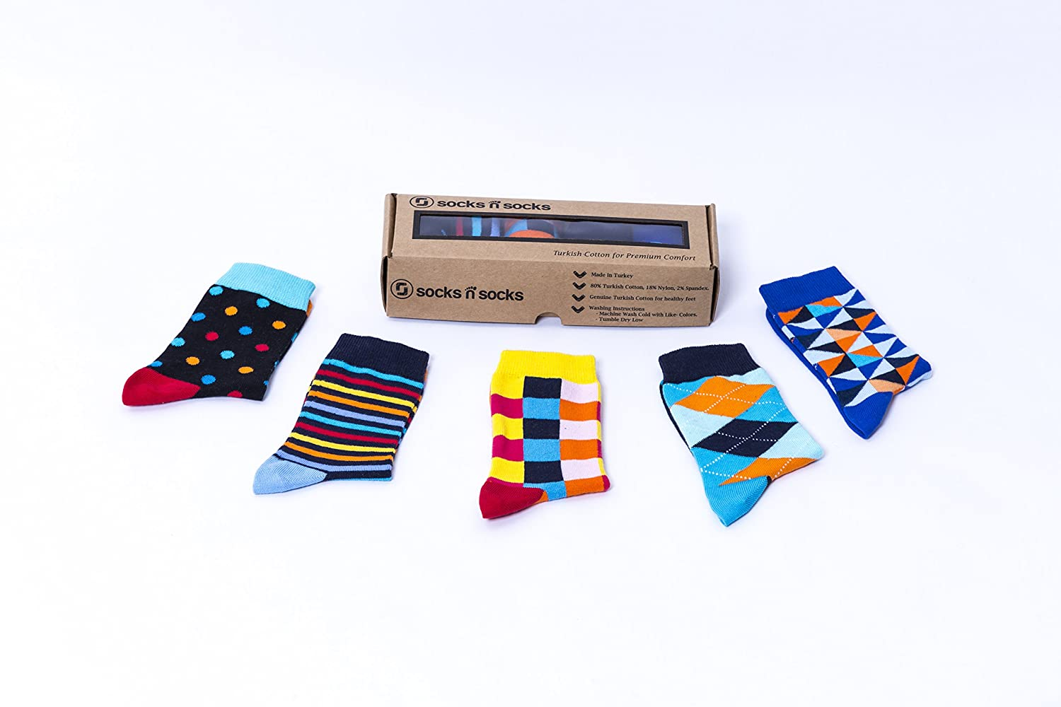 Socks n Socks-Kids 5-pair Fun Cool Cotton Colorful Dress Crew Socks Gift Box
