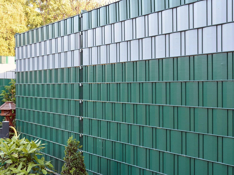 Sichtschutz zum Doppelstabzaun grün Rolle á 70 m inkl 12 Stk