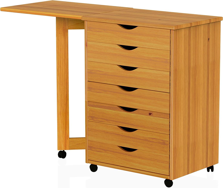ADEPTUS 761787 Drawer Gate Leg Roll Cart with Desk, Medium Pine