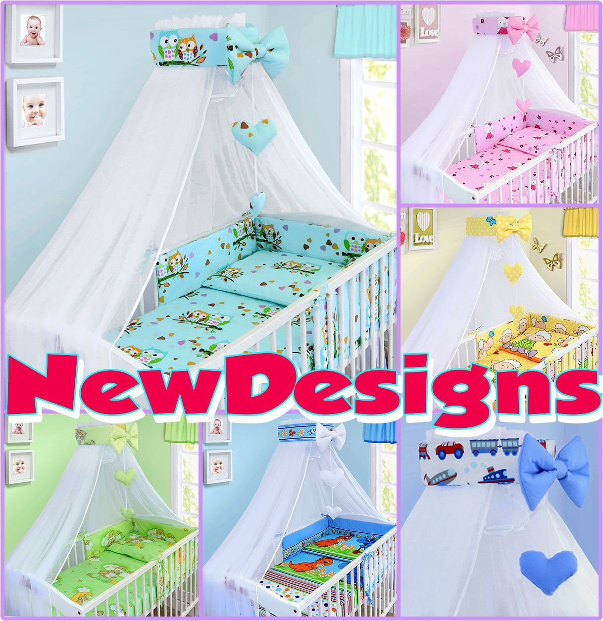 LUXURY 10Pcs BABY BEDDING SET COT PILLOW DUVET COVER BUMPER CANOPY to Fit Cot Size 120x60cm 100% COTTON (Boats) TheLittles24