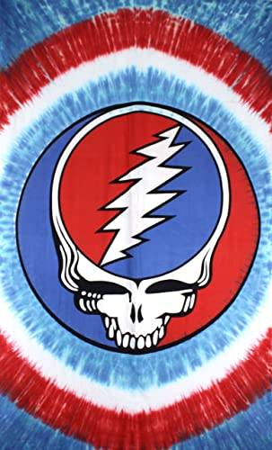 Sunshine Joy Grateful Dead Patriotic Steal Your Face Tie-Dye Tapestry Wall Art Beach Sheet Huge 60×90 Inches