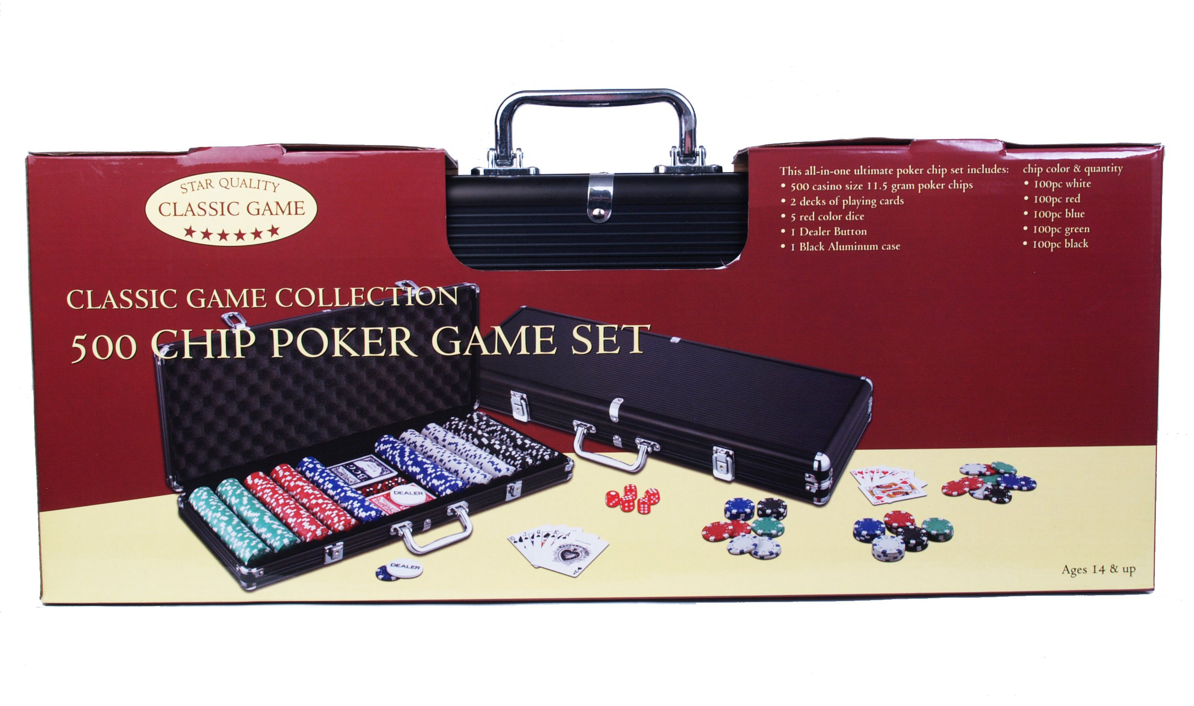 Classic Game Collection 500 Chip Poker Game Set