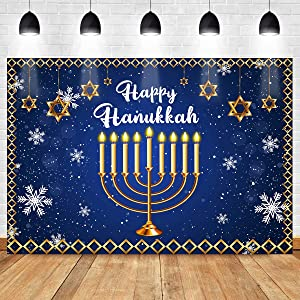 Happy Hanukkah Photography Backdrop Menorah Blue Shiny Lamps Chanukah Festive Decor Background Israel Party Decoration Cake Table Banner 7x5ft ZYMT0815