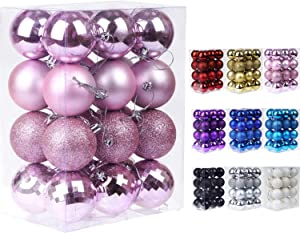 "Emopeak 24Pcs Christmas Balls Ornaments for Xmas Christmas Tree - 4 Style Shatterproof Christmas Tree Decorations Hanging Ball for Holiday Wedding Party Decoration (Pink, 1.6""/4.2CM)"
