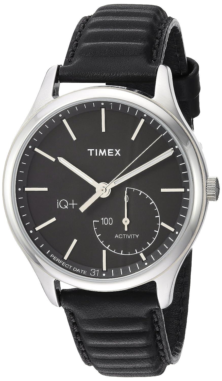 Amazon.com  Timex Men s TW2P93200 IQ+ Move Activity Tracker Black Leather  Strap Smart Watch  Watches f072e761e96