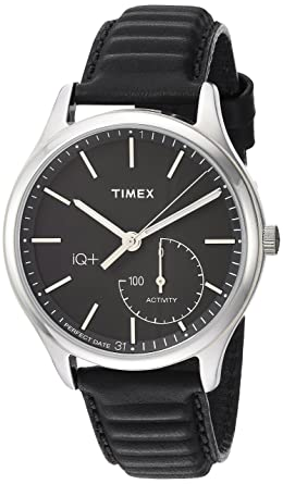 84c8a8062c80 Timex Men s TW2P93200 IQ+ Move Activity Tracker Black Leather Strap Smart  Watch