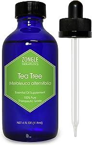 Zongle Tea Tree (Melaleuca) Oil, Australian, Safe to Ingest, 4 OZ