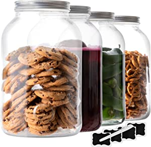 4 Pack - 1 Gallon Glass Jars with Lids Food Storage Jars with Airtight Lids Leak Proof Wide Mouth Glass Canisters Kitchen Jars