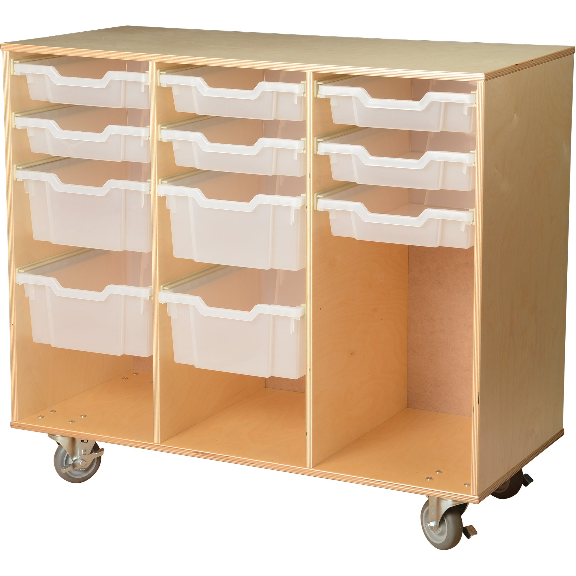 Constructive Playthings WB-740 Game and Puzzle Birch Cart with Write and Wipe Board on the Back, Grade: kindergarten to 6, Brown