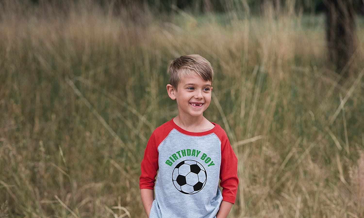 7 ate 9 Apparel Boys Birthday Boy Soccer Red Raglan Tee