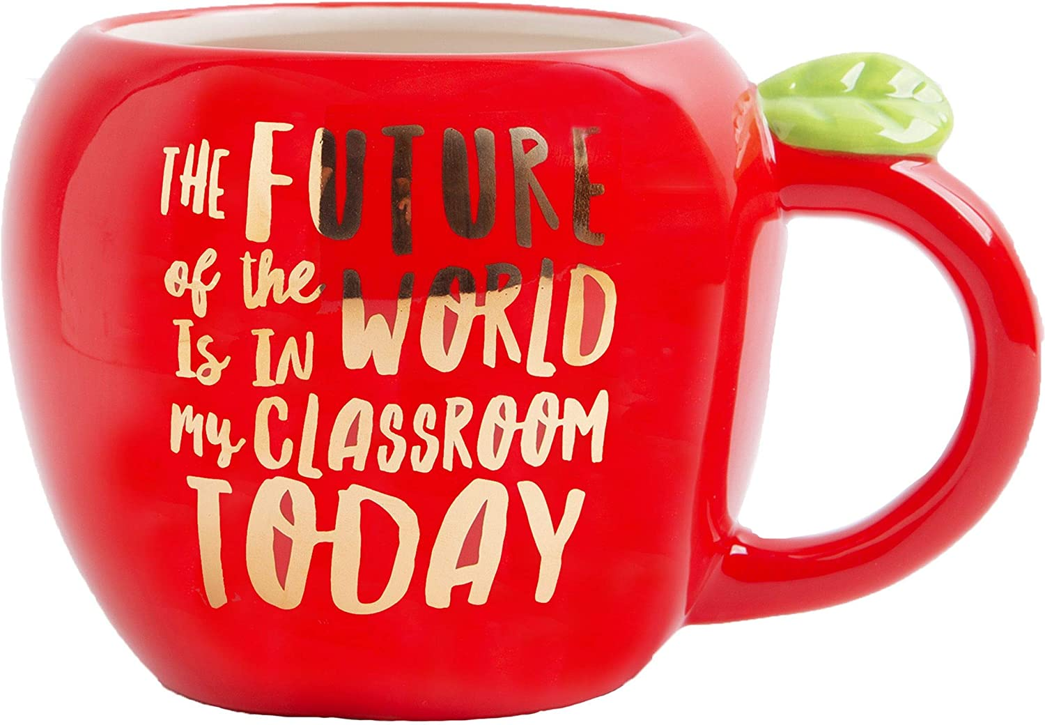 Home Essentials 92574 Shiny Red Apple Shape Teacher Mug Future of the World, 31 Ounce