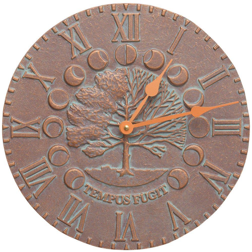 SKB family Outdoor Clock - Times and Seasons, 12'' x 12'' x .5'' x 6.5 lbs, Copper Verdi