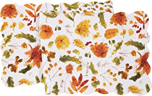 C&F Home Watercolor Sketches Runner Reversible Cotton Harvest Fall Autumn Leaves Tablelinen for Dinners Everyday Use Runner 14x51 Green