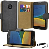 Case Collection® Premium Quality Leather Book Style Wallet Flip Case Cover With Credit Card & Money Slots For Motorola Moto G5