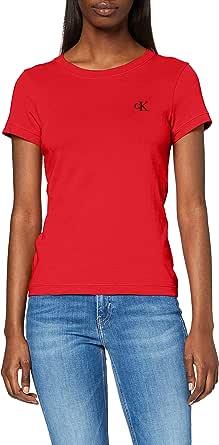 Calvin Klein Jeans Women's CKJ CK Embroidery Slim T XA9 RED WMN TEE, Racing Red, M