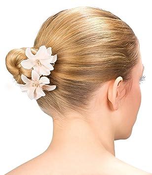 Six Blumen 2er Set Damen Haarspangen Mit Zart Apricot Creme
